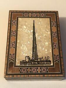 Vintage Wooden Box With Lid Depicting The Burj Khalifa Dubai Jewellery Box Arabi