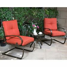 Outdoor 3PC Patio Table Chair Furniture Sectional Set Cushioned Wrought Iron NEW
