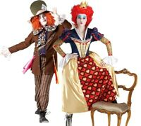 Adult DISNEY Alice in Wonderland MAD HATTER or RED QUEEN Fancy Dress Costumes