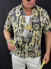 Hawaiian Aloha Shirt Vintage Gary's Island Gitar Rayon Shirt Men's M  H38