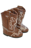 Brown Western Boots with Stitching for Wellie Wisher Dolls