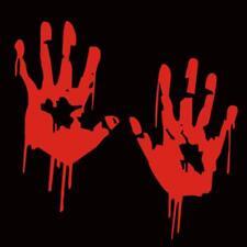 2X Bloody Hand Car Stickers Reflective Decal Light Bumper Body Sticker Halloween