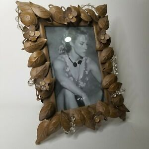 """Metal Picture Frame with Leaf Leaves Design, 4"""" x 6"""" Picture Brown Clear Beads"""