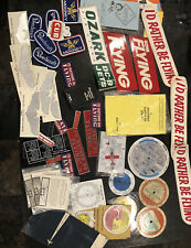 Vintage Lot Aircraft Decals Beechcraft Patch Manuals Esso Ozark TWA Narco Mooney