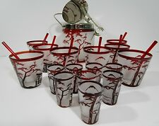 VTG Oriental Glassware RUBY FLASHED Raised Design & Frosted Cocktail Glass Set