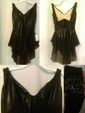 Ice skating or Dance Black Shiny Dress w sequins sheer skirt AS or Girls XL