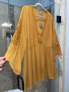 New Catherines Mustard Yellow Babydoll Tunic Top 2X 22 24W Boho