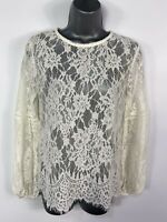 BNWT WOMENS NEW LOOK SIZE UK10 IVORY LACE LONG BALLOON SLEEVED EVENING PARTY TOP
