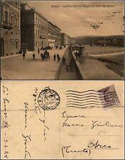 Firenze, lung'Arno Amerigo Vespucci col ponte alla Carraia, animata, viag.1928