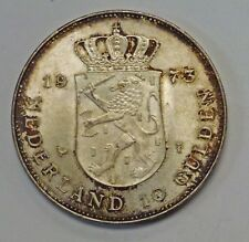 1973 Netherlands 10 Gulden .720 Silver Rust and GOLD Toning