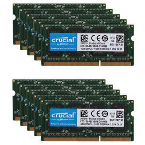 Crucial 16GB 8GB 4GB PC3L 12800 DDR3L 1600MHz Laptop Memory RAM SO-DIMM 204 Lot