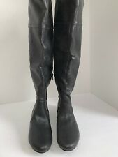 New w/ Box Restricted Avery Black With Grey Silver Hardware Knee Boots Size 8.5