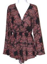 3f3fc48ba61e Audrey 3+1 Women s Romper Medium Black Floral Deep V Neck Back Front Long  Sleeve