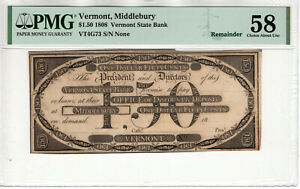 1808 $1.50 VERMONT STATE BANK MIDDLEBURY OBSOLETE REMAINDER NOTE PMG CH AU 58