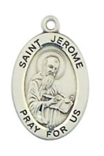 "Patron Saint St Jerome 7/8"" Oval Sterling Silver Medal on Rhodium Plated Chain"