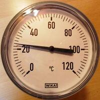 """Bimetall-Thermometer 1/2"""" AG x 60mm 0-120°C Gehäuse 100mmØ mit Tauchhülse Wika"""