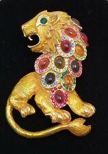 Large Lion Brooch Pin Enamel Glass Cabochons Rhinestones Statement Jewelry