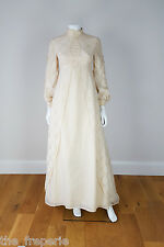 ANTIQUE EDWARDIAN STYLE CREAM WEDDING DRESS WITH LACE TRAIN AND LONG SLEEVES (6)