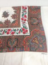 Scarf Wrap White Red Paisley Gauzy Floral Italy Largelight Fringed Edge Head