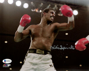 MICHAEL MIKE SPINKS SIGNED AUTOGRAPHED 8x10 PHOTO BOXING LEGEND BECKETT BAS
