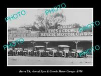 OLD LARGE HISTORIC PHOTO OF BURRA SA, THE EYES & CROWLE MOTOR GARAGE c1910