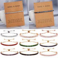 Fashion Women 18k Crystal Adjustable Bracelet Friendship Card Jewellery Gifts