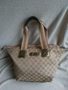 AUTHENTIC Vintage Gucci 90's Large Tote Handbag purse beige GG logo canvas bag