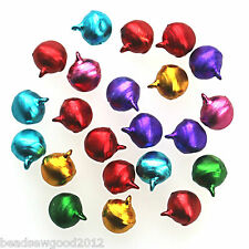 50 Mixed Colour Aluminium JINGLE BELLS Pendant Charms 12mm Xmas Crafts