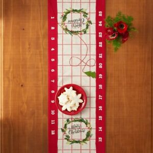 "St. Nicholas Square Merry Christmas Calendar Table Runner 36"" x 13"" NEW"