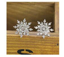 Womens Fashion Elegant Cute Crystal Rhinestone Snowflake Ear Studs Earrings Gift