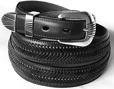 DOUBLE BARREL belts western dress accessories tapered BLACK LEATHER BELT 42 NWT!