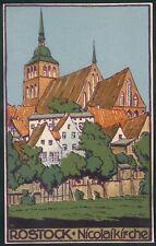 Postkarte Rostock -Nicolaikirche, farbig, mit Herst. LKH