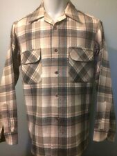 Vtg Pendleton Flap Pocket Wool Plaid Flannel Board Shirt Mens M Vlv Loop Collar