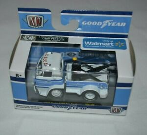 2019 M2 MACHINES GOODYEAR 1966 DODGE L600 TOW TRUCK WHITE WITH BLUE TRIM WMTS09