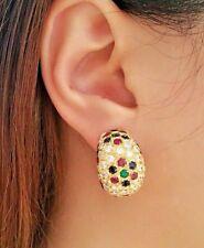 RUBINO,smeraldo,zaffiro e diamante MEZZI CERCHI Orecchini in 18k oro giallo -