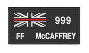 E0199  EMBROIDERED THIN RED LINE FIRE PATCH WITH CUSTOM NUMBER / RANK / NAME