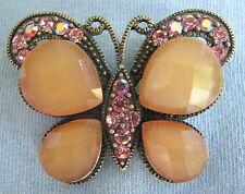 Pewter smoky & AB Aurora Borealis Rhinestone Butterfly Brooch