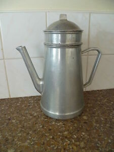 A VINTAGE / RETRO (c1940/50s)  LARGE, POLISHED METAL, COFFEE POT, FROM FRANCE