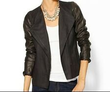 SIZE 12 VINCE BLACK ASYMMETRICAL LEATHER LINEN JACKET NWT