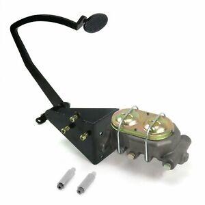 55-59 Chevy Truck Manual Brake Pedal kit Disk/DiskLg Oval Blk Pad frame mount