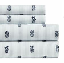 New Tommy Hilfiger Pineapples and Pinstripes 4 Piece Sheet Set Full