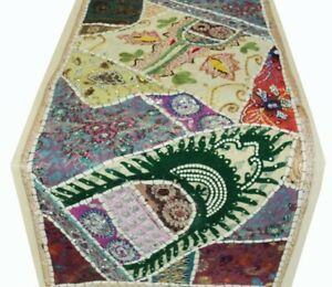 """SALE! 40"""" HANDCRAFTED SARI VINTAGE BEAD SQUN TAPESTRY TABLE LINEN RUNNER THROW"""