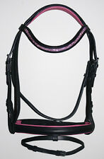 NEW FULL English Dressage Show Bridle Bright Pink U Shape Crystal Bling Browband