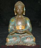 "6.8 ""Vieux Tibet Cloisonné Émail Bronze Sakyamuni Tathagata Bouddha Statue"