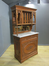 ORIGINAL ANTIQUE 19TH CENTURY COLONIAL HARDWOOD MARBLE TOP CABINET