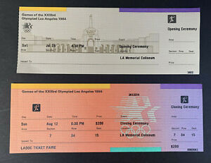 1984 Los Angeles Summer Olympic Games Unused Opening & Closing Ceremony Tickets
