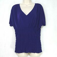 Worthington V-Neck Top Shirt Smocked Women Size M Purple