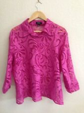 Elementz Pink Sheer Button Up Shirt Size L