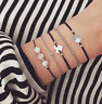 Love Heart Sea Shell Weave Rope Bead Charm Bracelet Women Jewelry Gift 5Pcs/Set