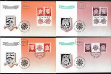 ISRAEL 1965-1967 First Town Emblems TETE BECHE - 4 PHILA CARDS  VERY NICE -VF/XF